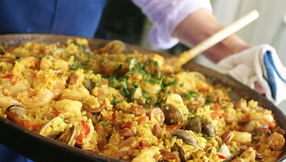 Spanish Rice with Chicken, Shrimp, Chorizo and Clams (Paella)
