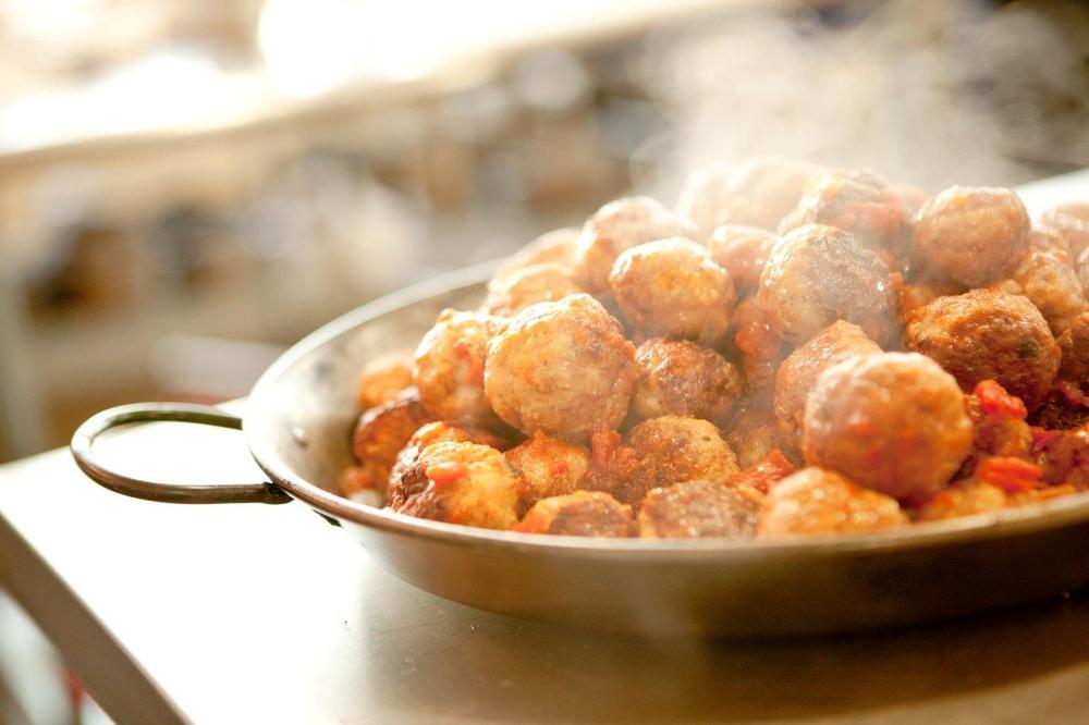 Albondigas al Jerez with Sauce Romesco