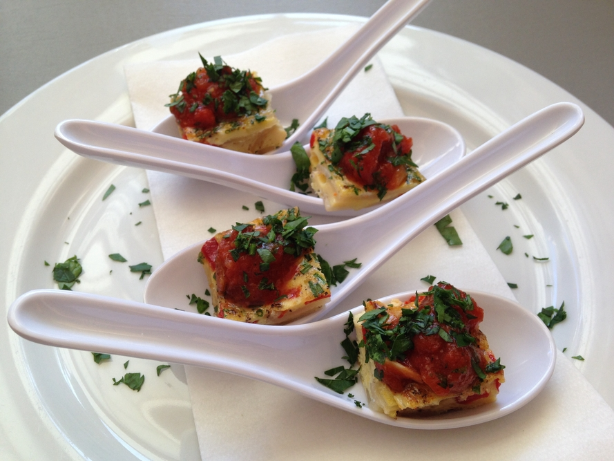 Tortilla espa ola with sofrito from hands on gourmet for Mandolin mediterranean kitchen